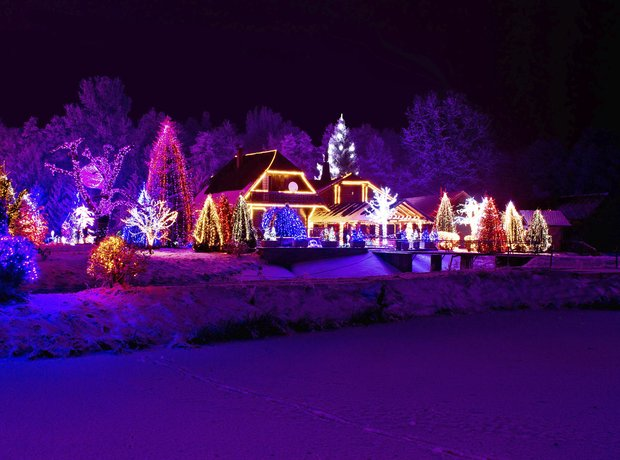 Christmas lights dark sky