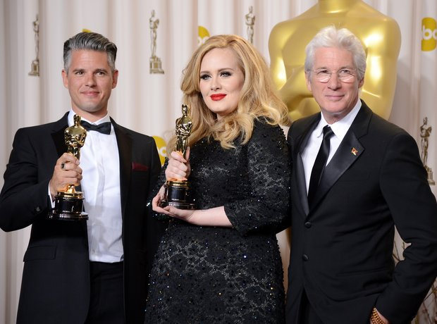 Paul Epworth, Adele and Richard Gere at the Oscars