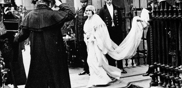 Lady Elizabeth Bowes Lyon on her wedding day