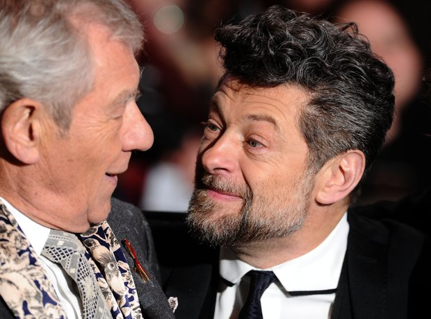 Ian McKellen and Andy Serkis at Hobbit world premi