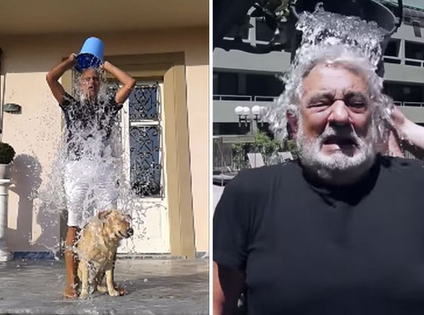 Andrea Bocelli and Domingo ice bucket challenge