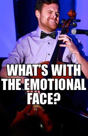 Emotional cellist