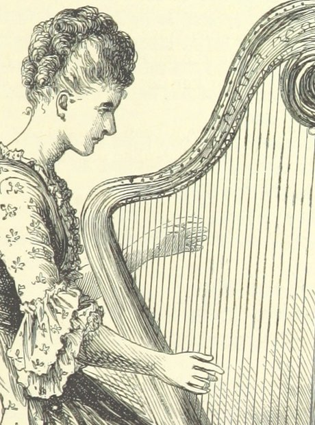 British Library images music woman harp Victorian