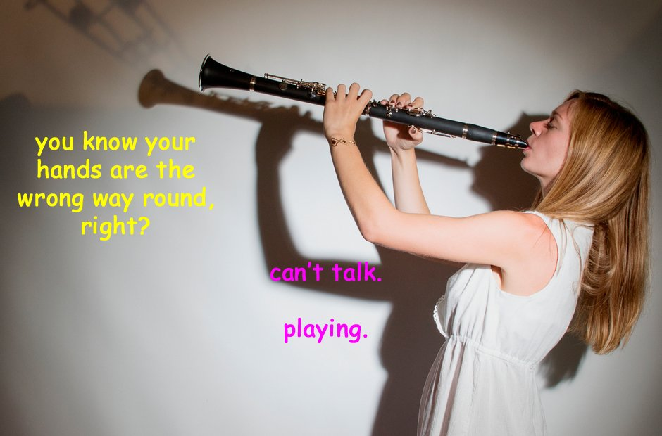 Models struggling with instruments stock photograp
